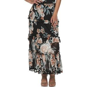 Boho Ruffle Tiered Floral Skirt - Size XL